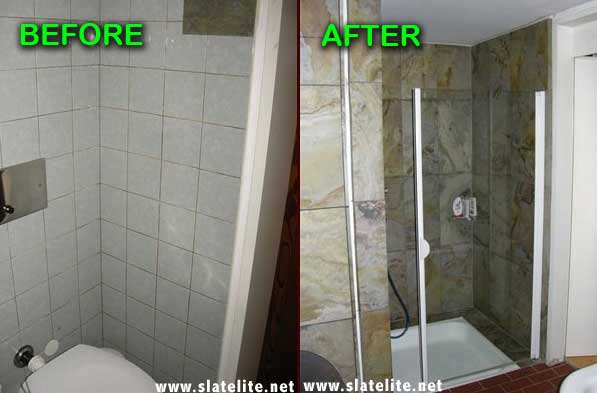 How to renovate old bathroom tiles with stone veneer sheets