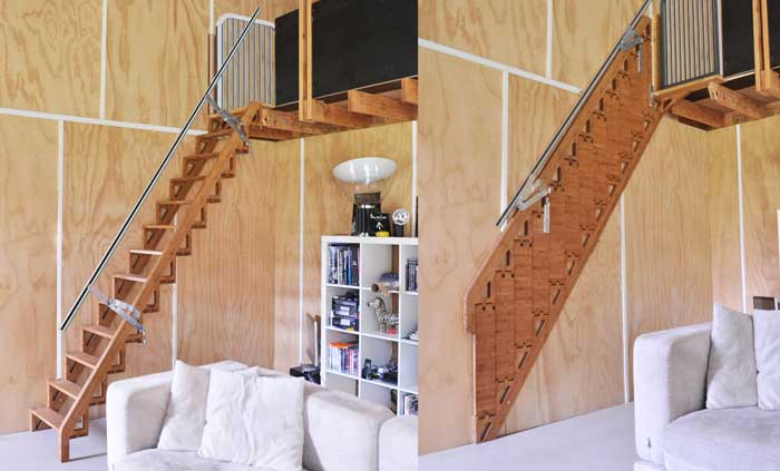 The folding staircase against the wall: the perfect space saving idea